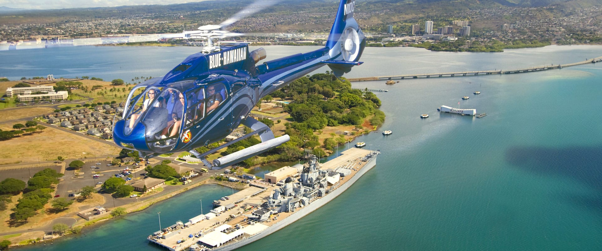 Helicopter rides over Historic Pearl Harbor